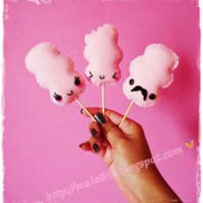 Kawaii cotton candy stitching characers