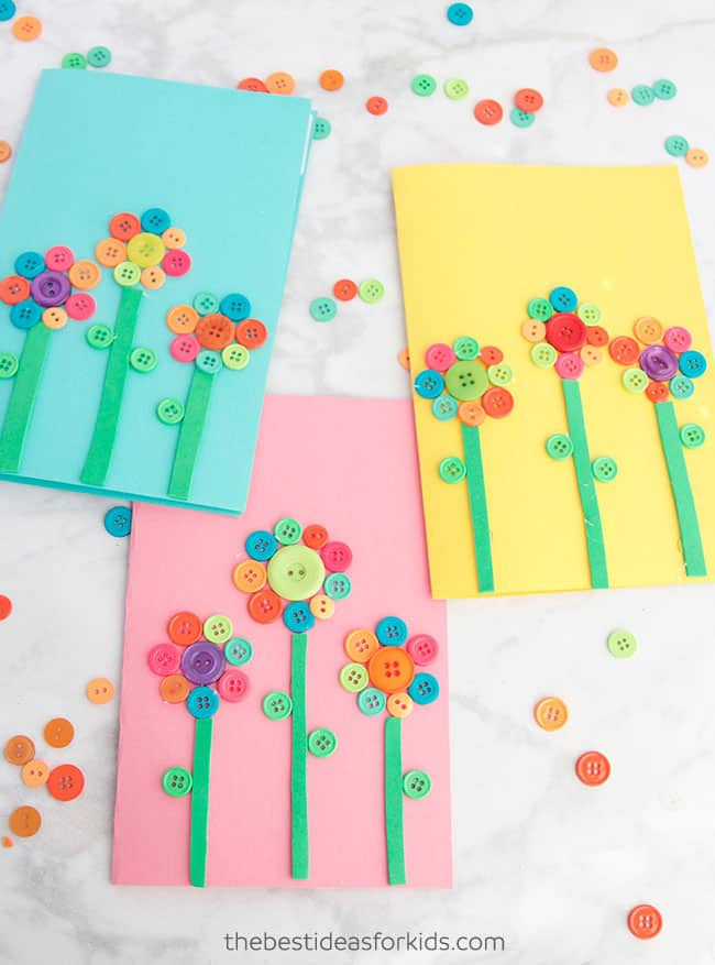 Kids' button flower art