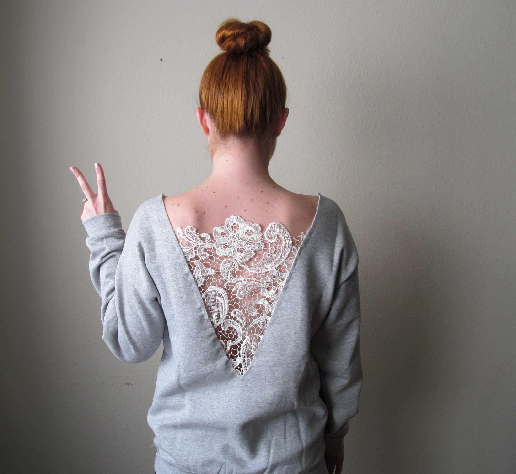 Lace cut out sweatshirt