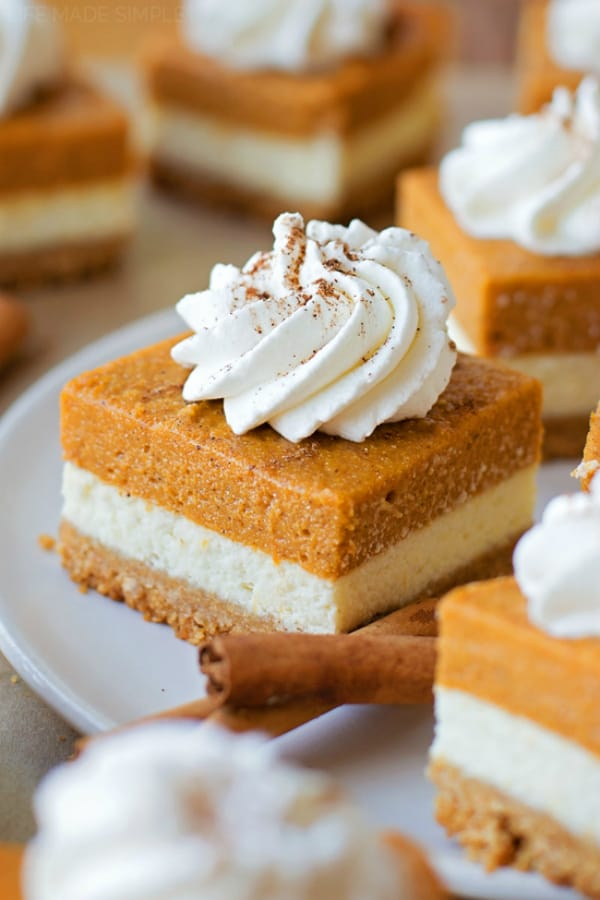 Layered pumpkin pie cheesecake bars 2