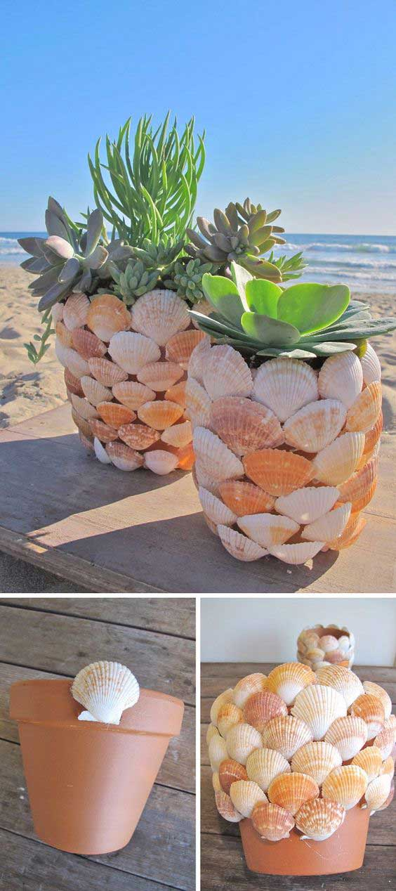 Layered seashell planters