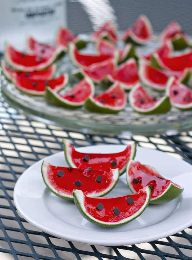 Lime and cherry jell o watermelons