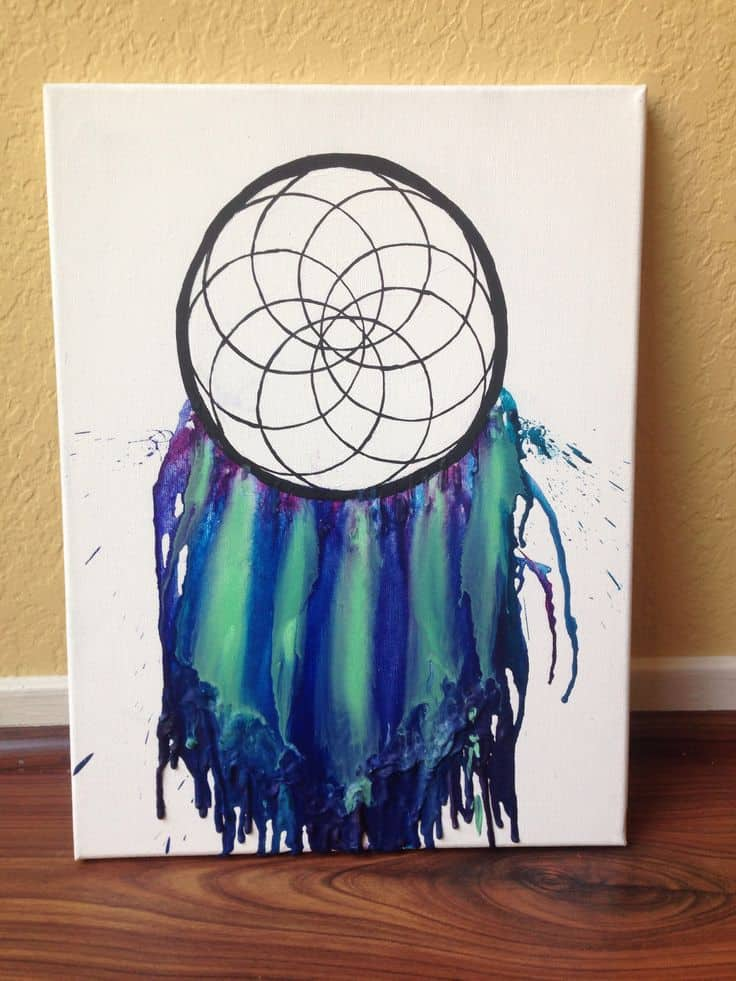 Melted crayon dream catcher canvas