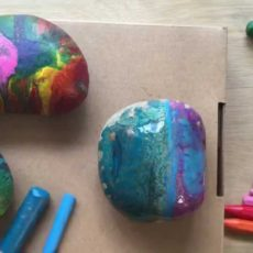 Melted crayon hot rocks