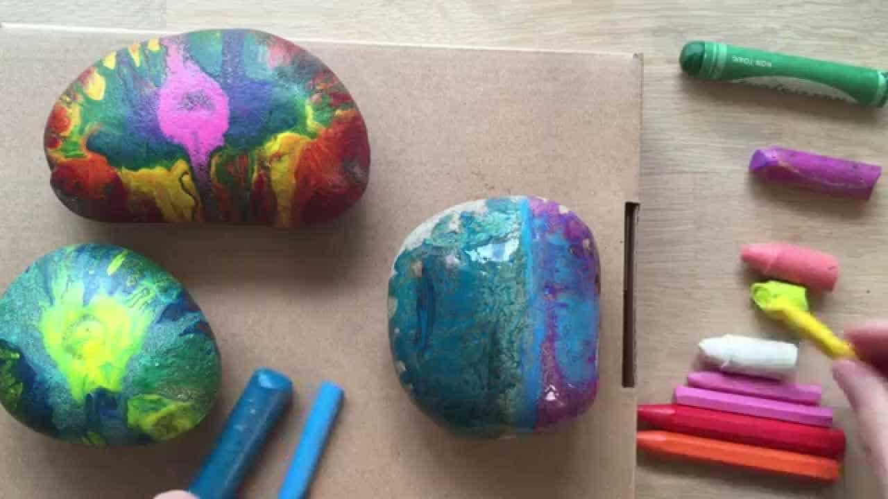 Melted crayon hot rocks
