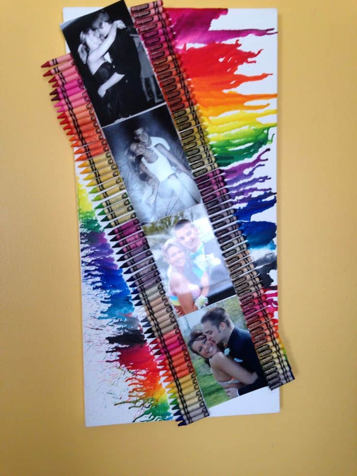 Melted crayon photo canvas