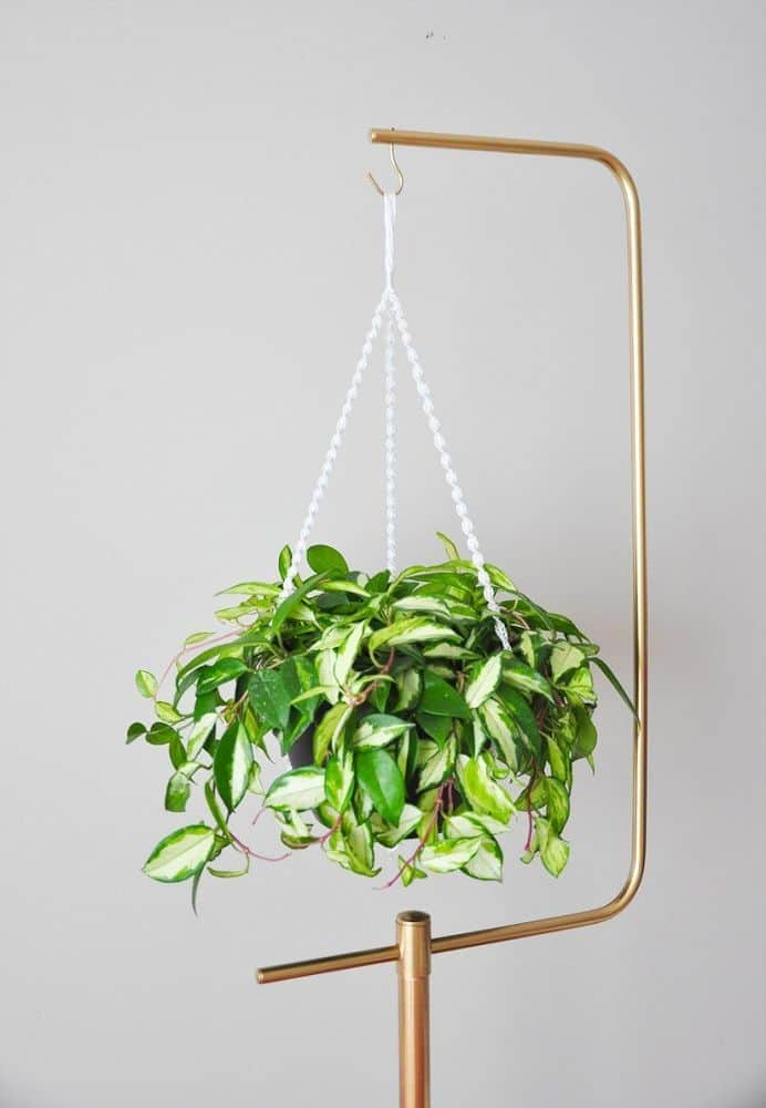 Metallic copper hanging plant stand