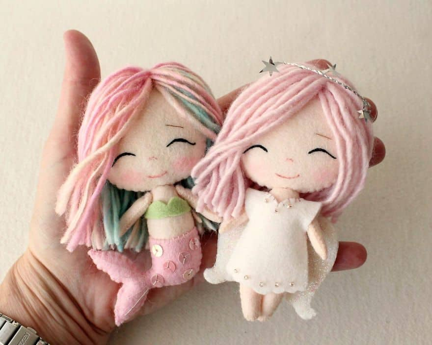 Miniature felt angel and mermiad dolls