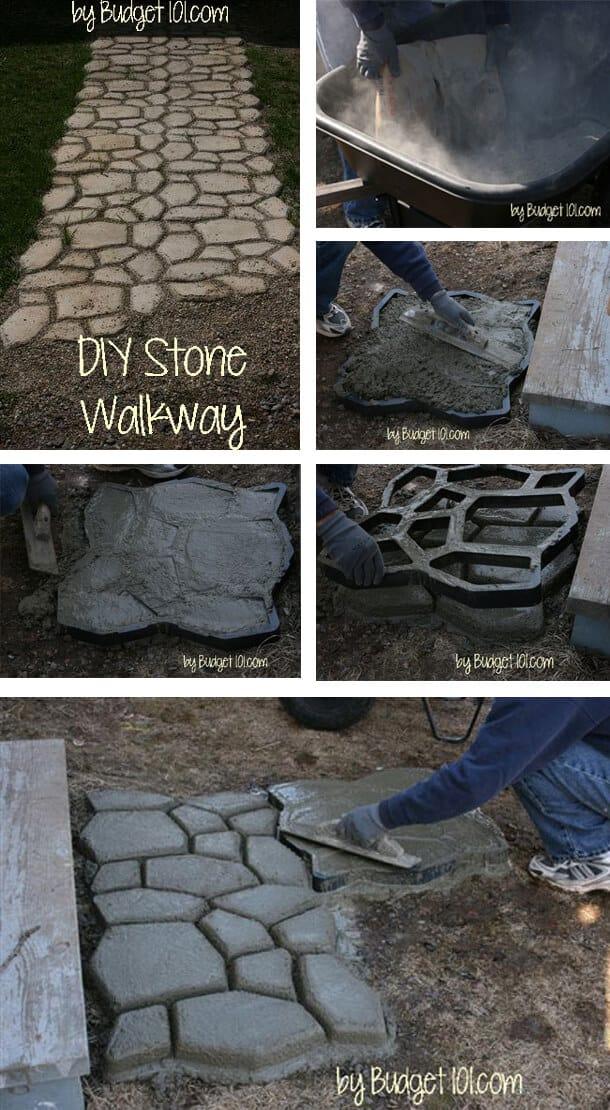 Mosaic style stone walkway