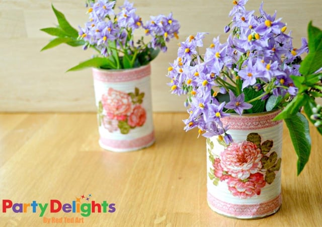 Napkin decoupage tin can flowers