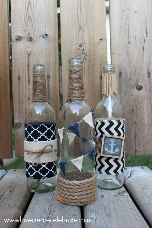 Nautical wine bottle decor