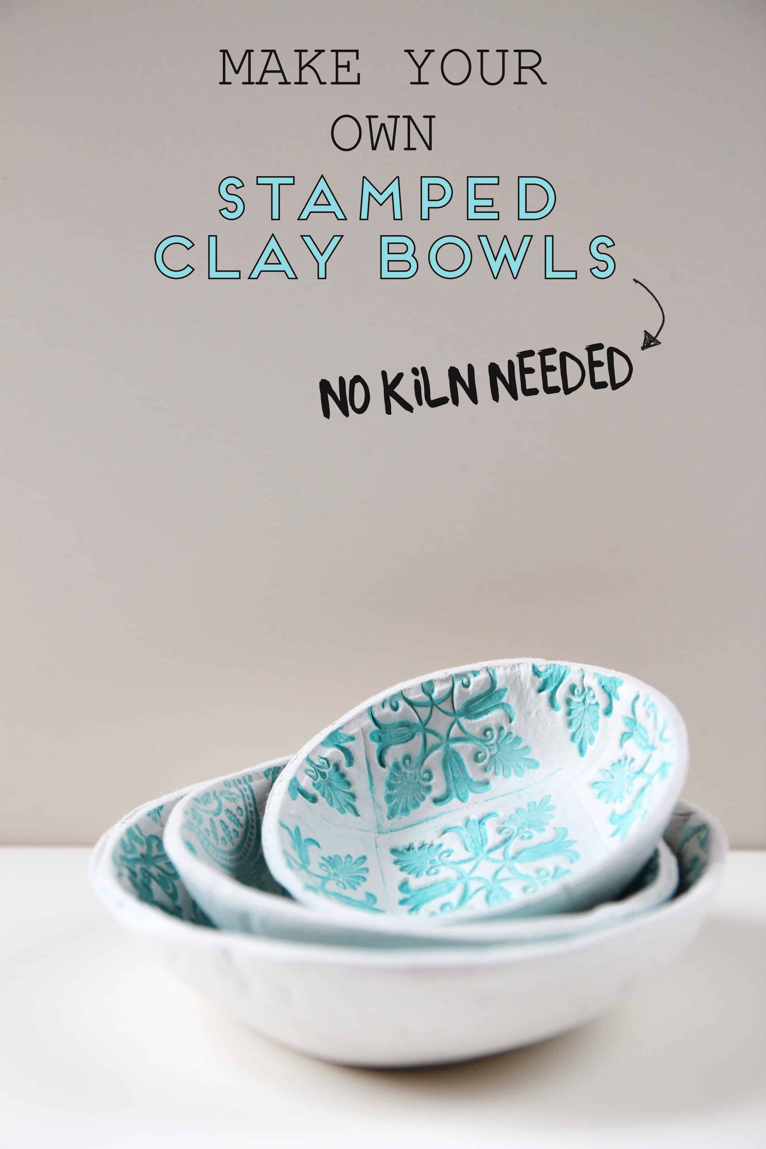 No kiln needed stamped clay bowls