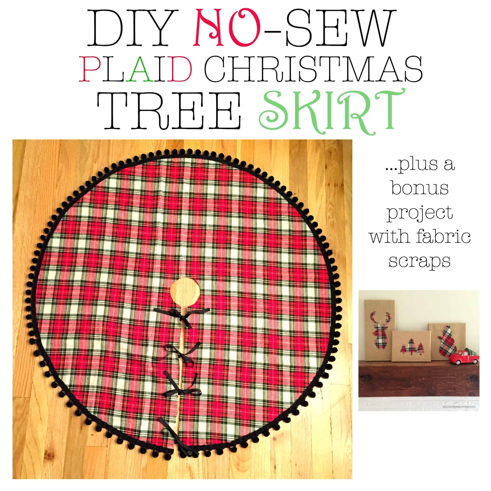 No sew christmas tree plaid skirt