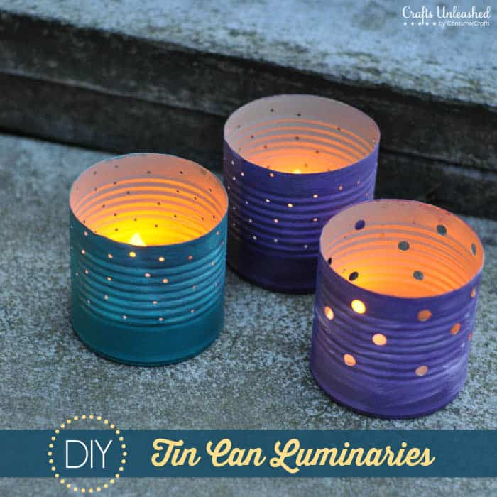Ombre painted tin can luminaries