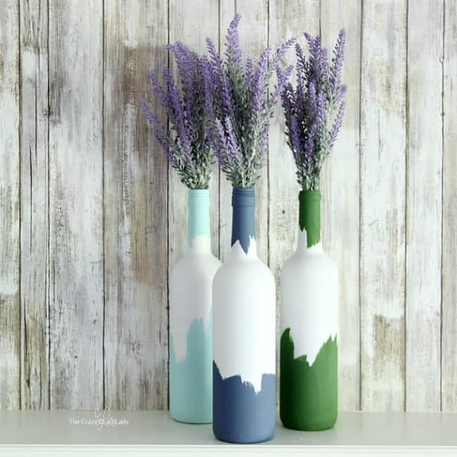 Painted decorative wine bottle vases