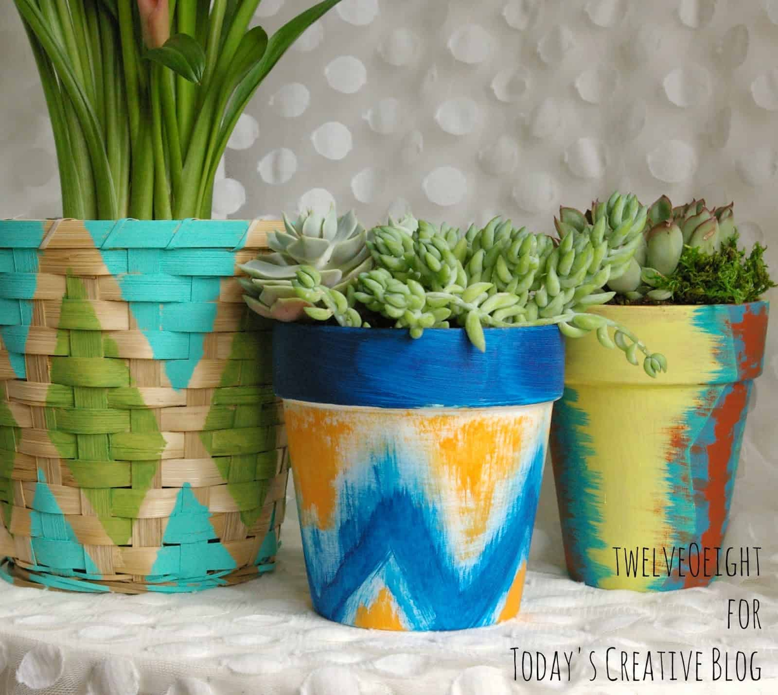 Painted patio planters