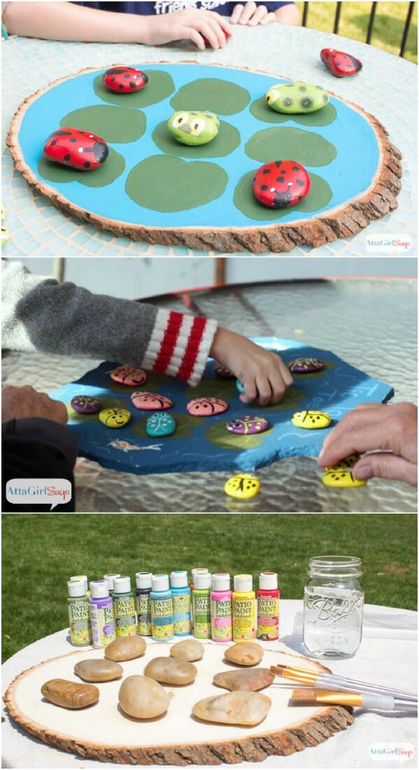 Painted rock and stone tic tac toe game