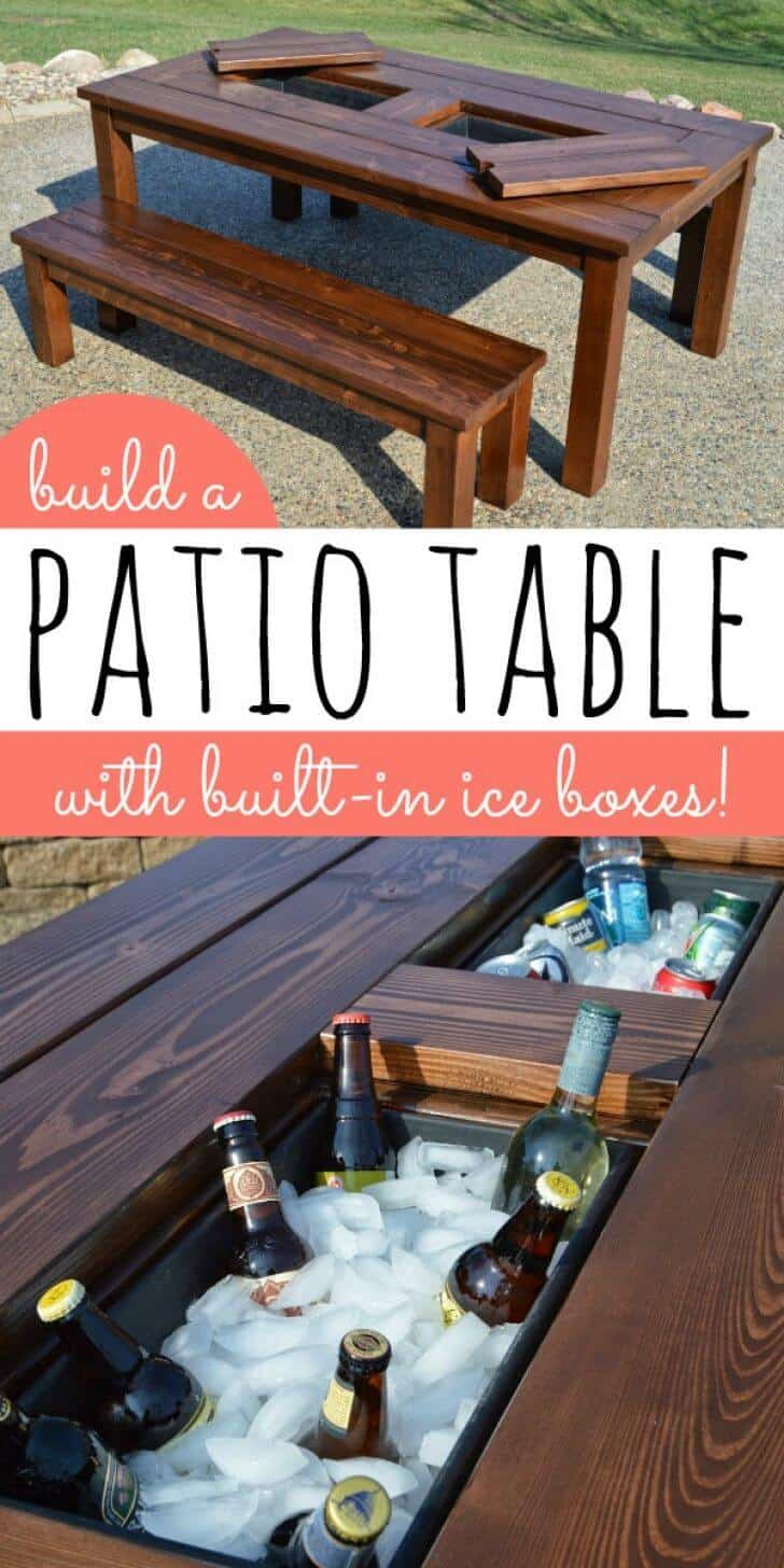 Patio table with a built in icebox