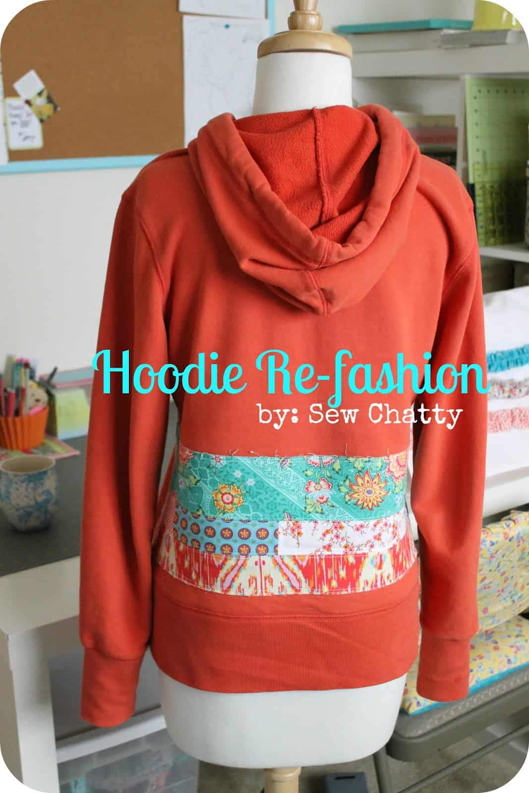 Patterned fabric applique hoodie