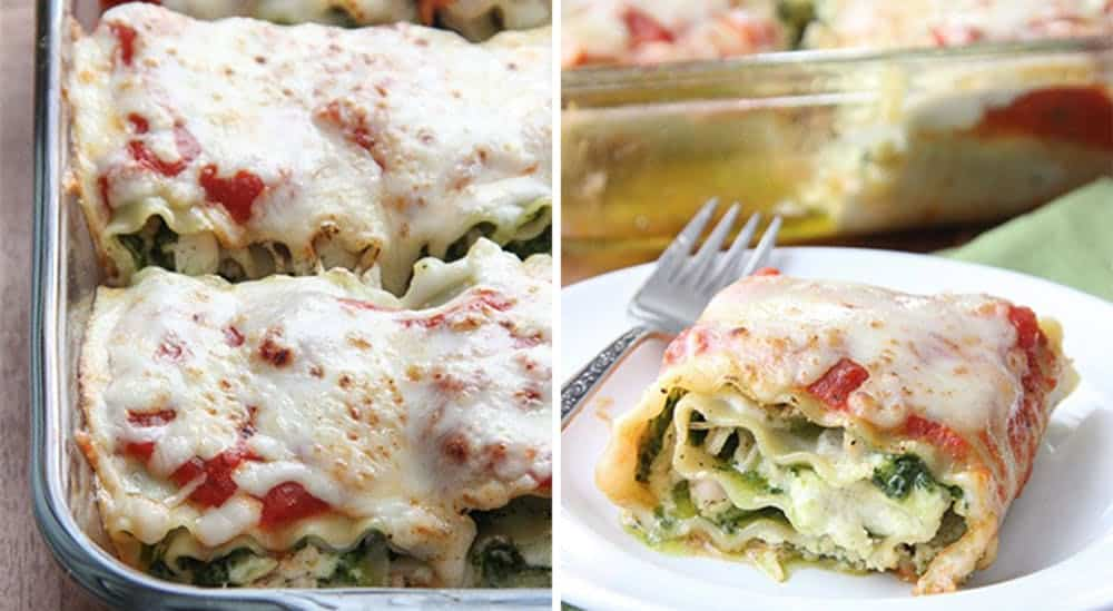 Pesto chicken lasagna roll