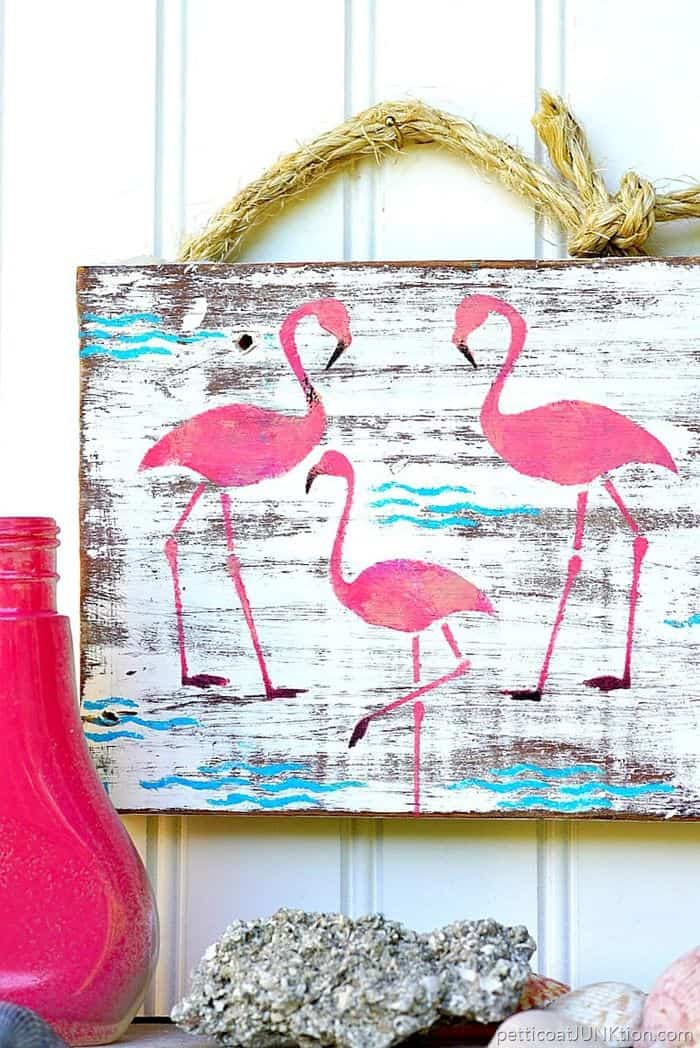 Pink flamingo junk sign