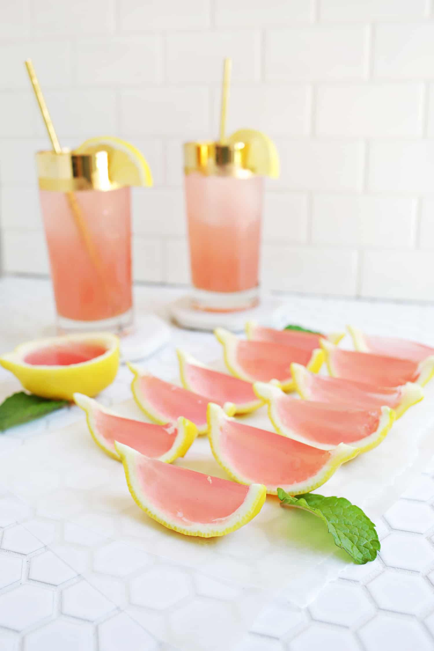 Pink lemonade jell o shots