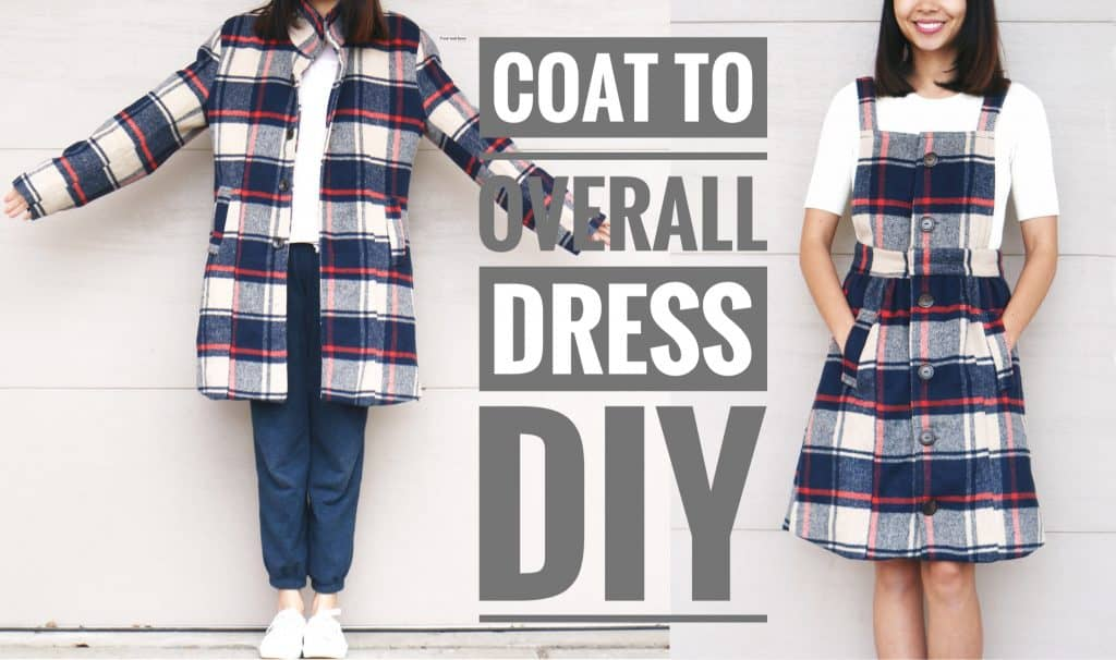 Plaid coat to overall dress
