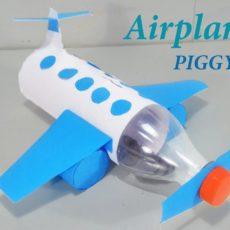 Plastic bottle airplane piggy bank