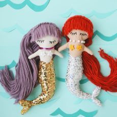 Plush mermaid dolls with sequin tails