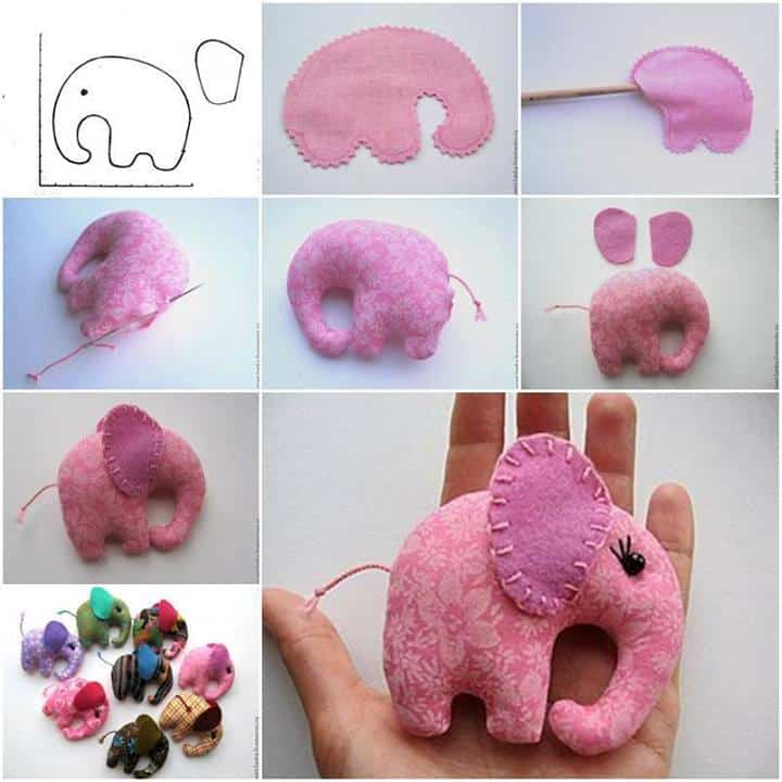Pocket sized hand stitched elephant