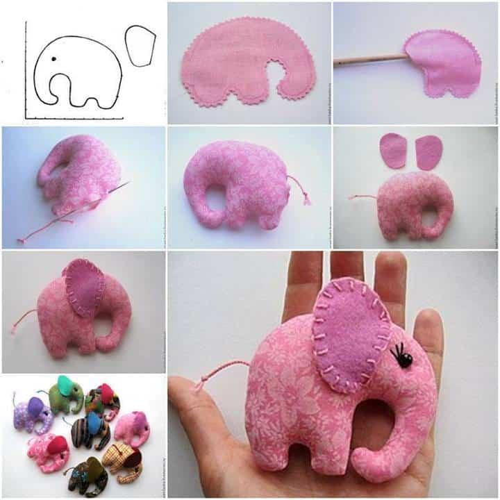 Pocket sized hand stitched elephant
