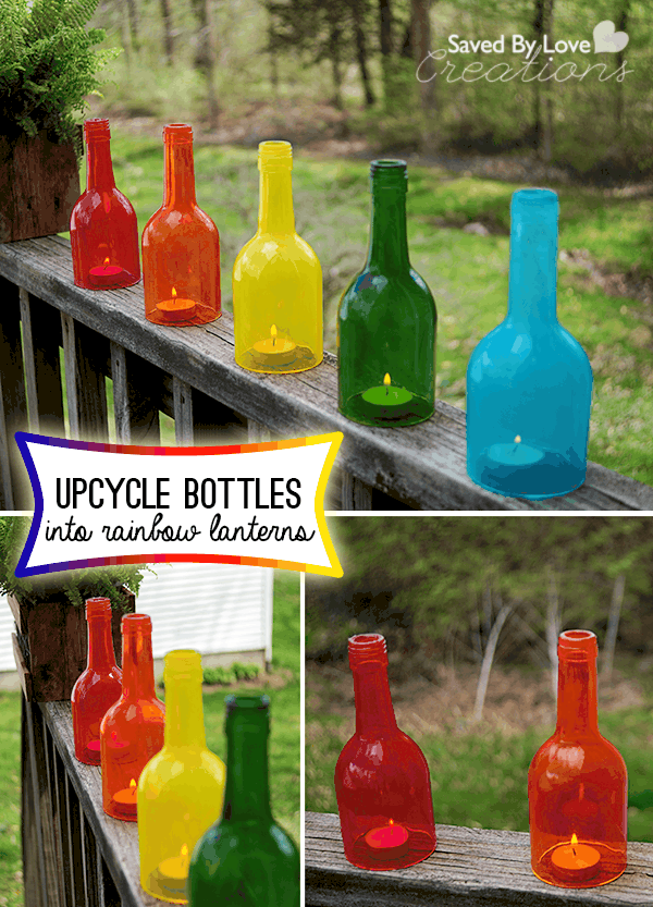 Rainbow wine bottle candle craft