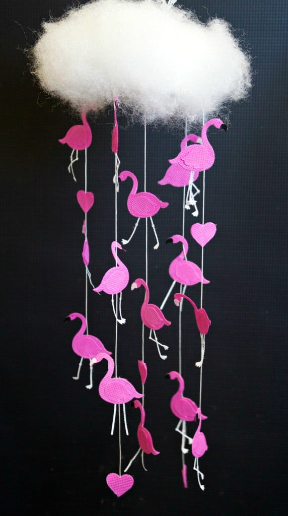 Raining flamingos mobile