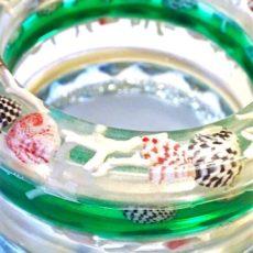 Resin and seashell bracelets
