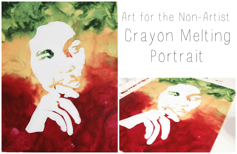 Resist art melted crayon portrait
