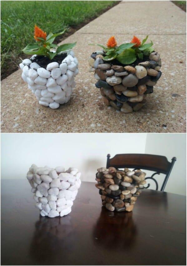 River stone planter