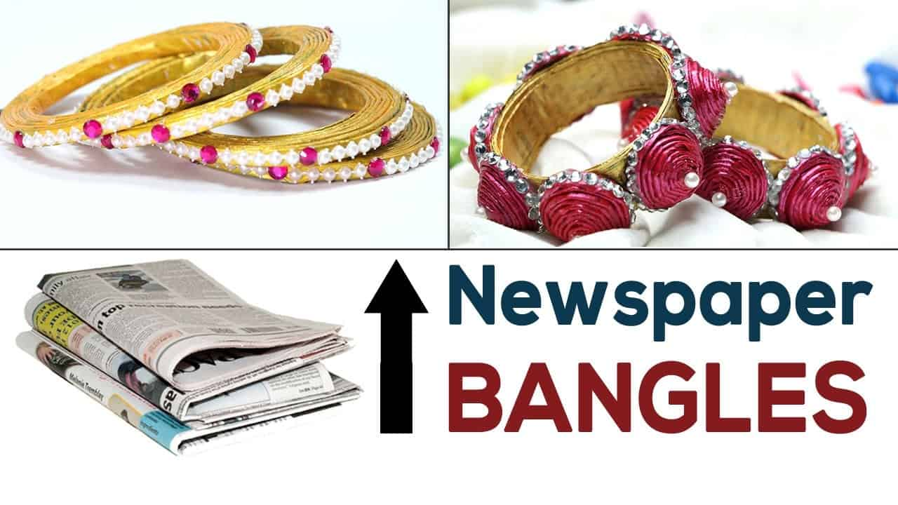 Rolled newspaper bangles