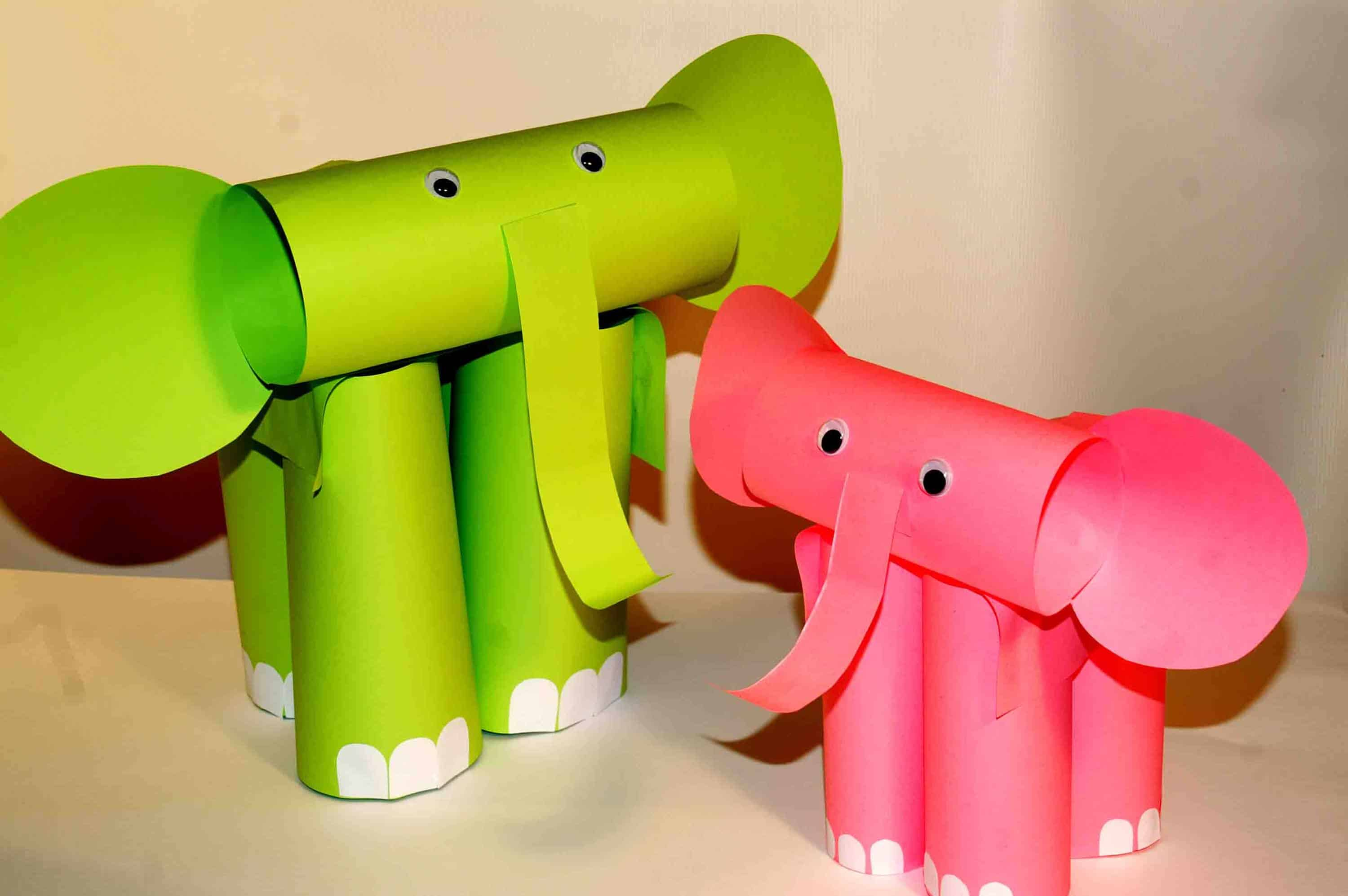 Rolled paper elephant craft for kids