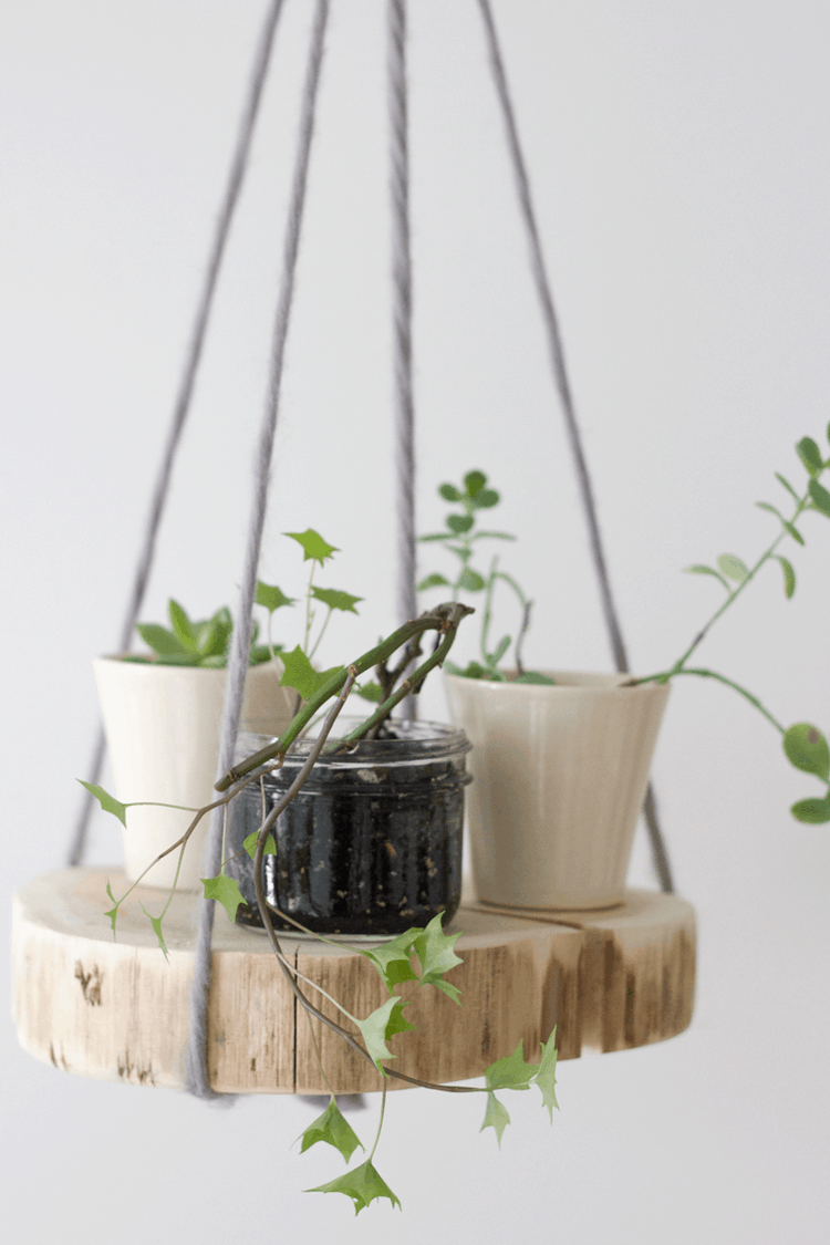 Rounded hanging wooden planter shelf