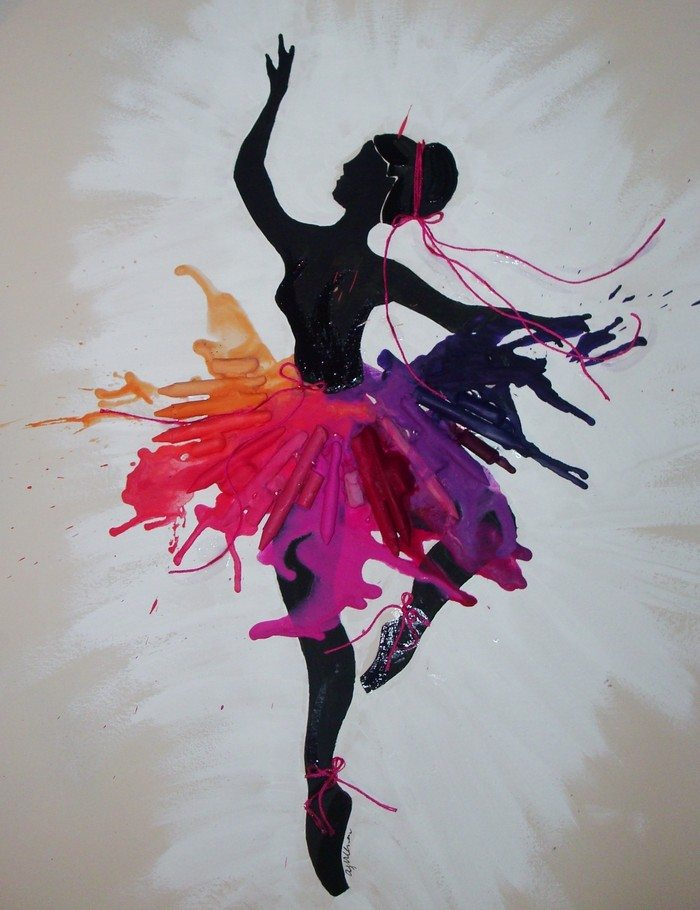 Silhouette ballerina with a melted crayon tutu