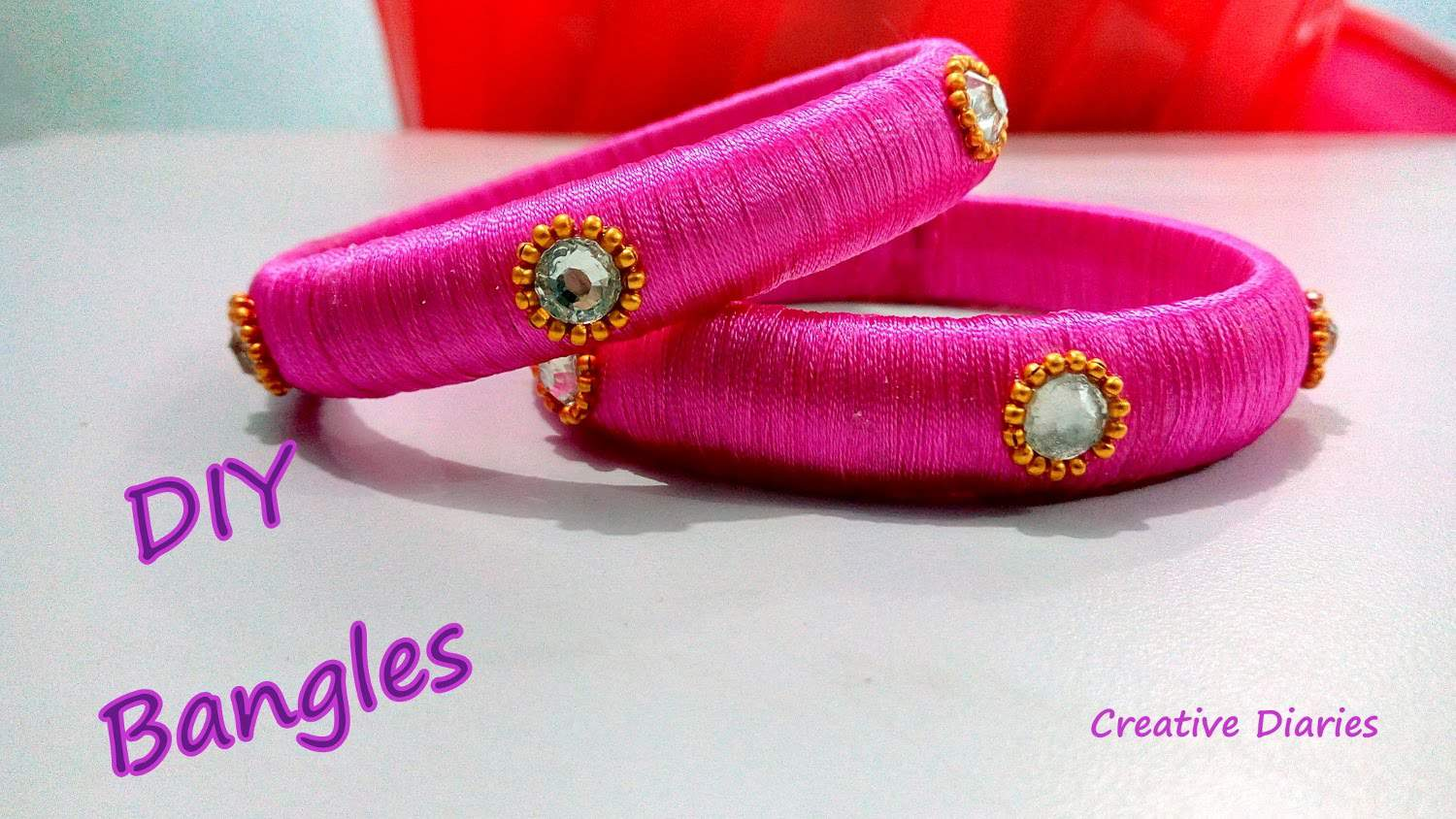 Silk thread wrapped bangles with rhinestones