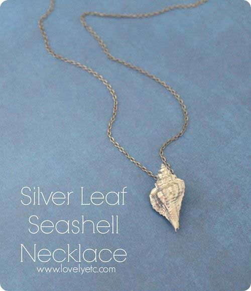 Silver leaf seashell necklace