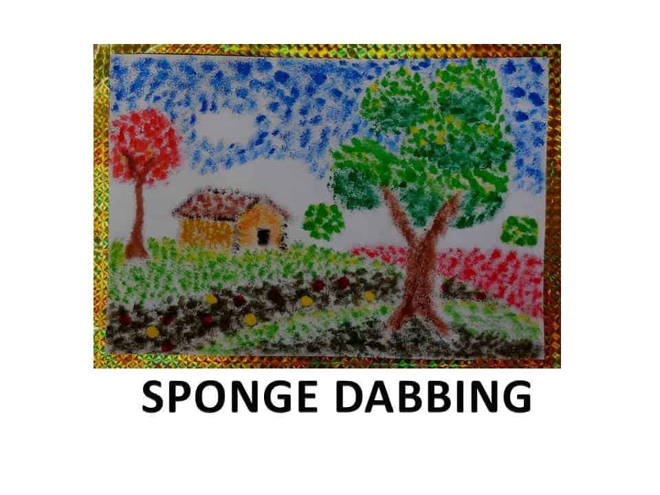 Sponge dabbing paintings