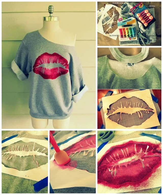 Sponged and stencilled lip sweater