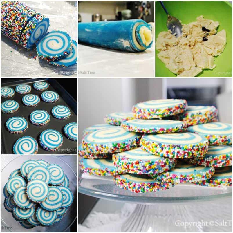 Sprinkled swirl sugar cookies