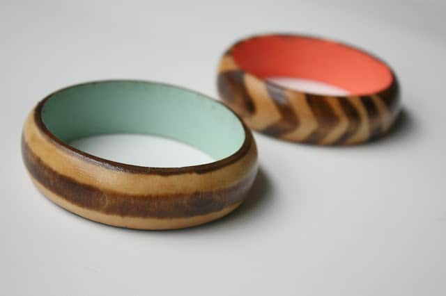 Stained and painted wooden bangles