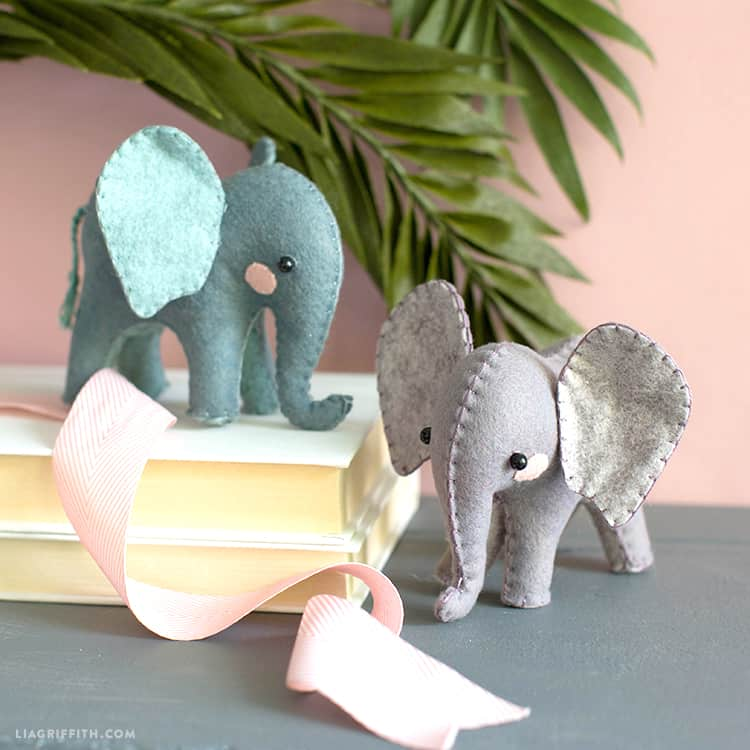 Standing felt elephants