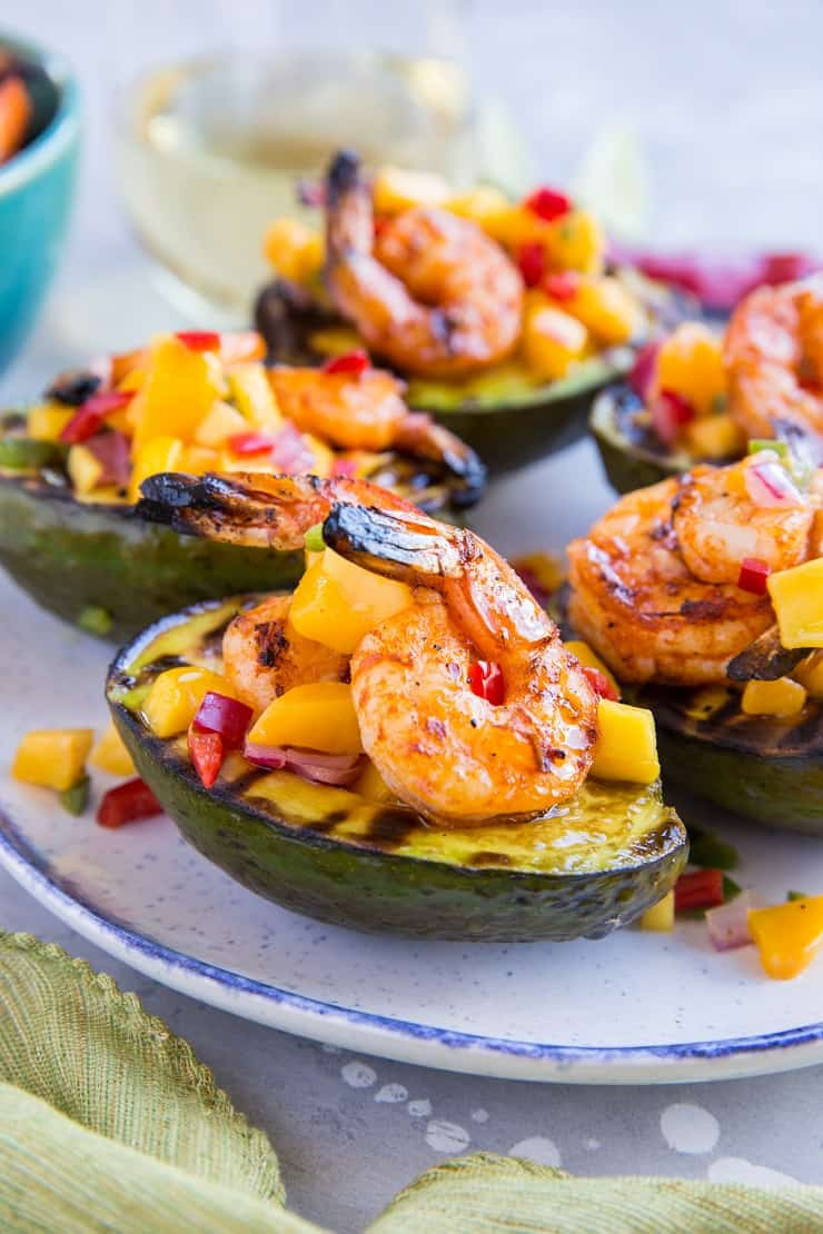Stuffed grilled avocados with shrimp