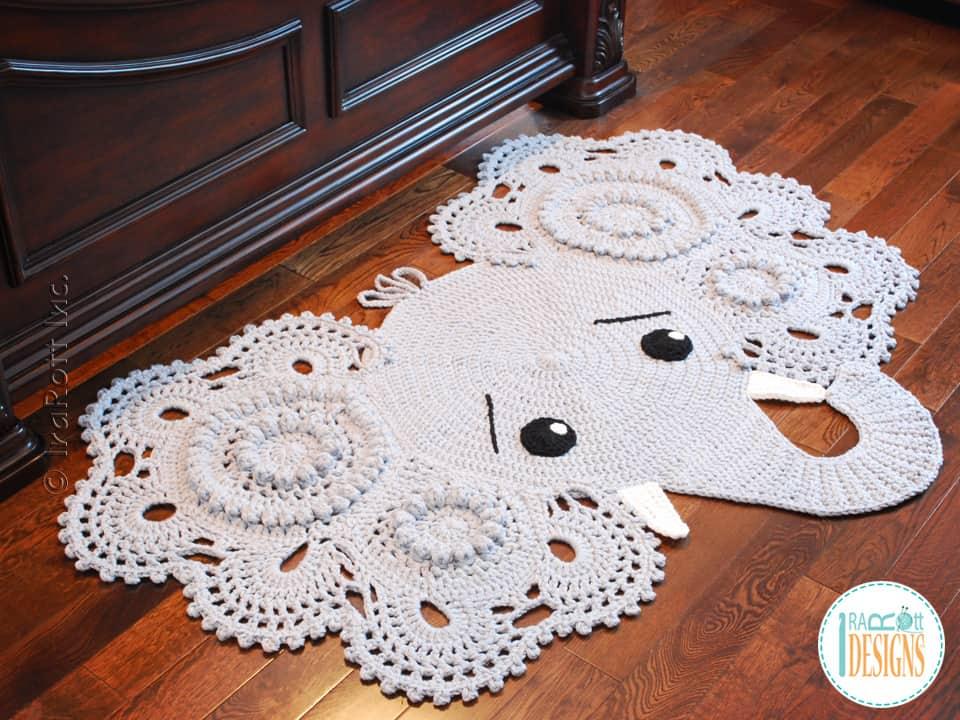 Stunning crocheted elephant floor rug