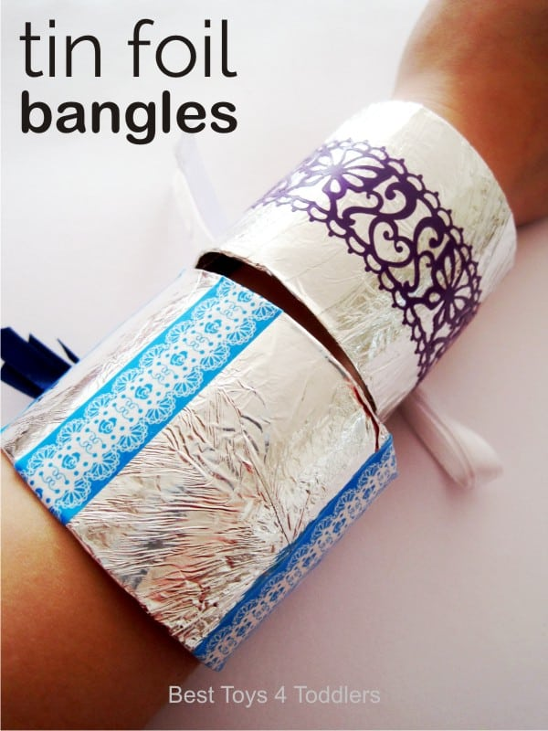 Tinfoil and washi tape bangles